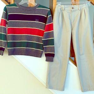 2 FOR 1-Boys Size 7 IZOD Sweater & Khaki Pants Set